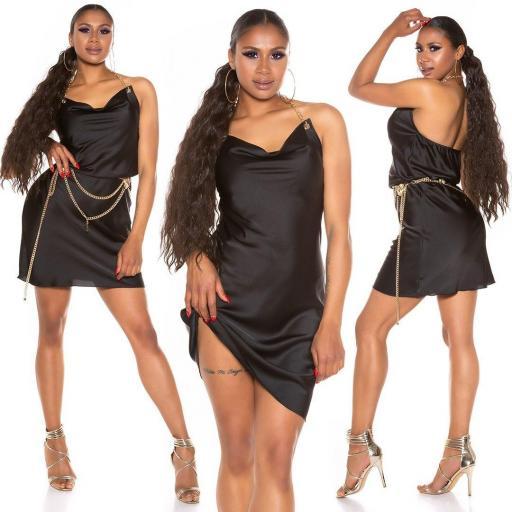 Vestido seda de imitación negro