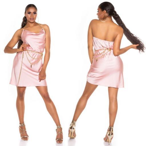 Vestido seda de imitación rosa [1]