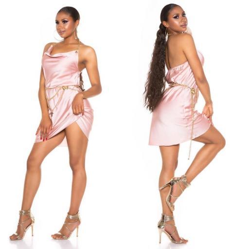 Vestido seda de imitación rosa [2]