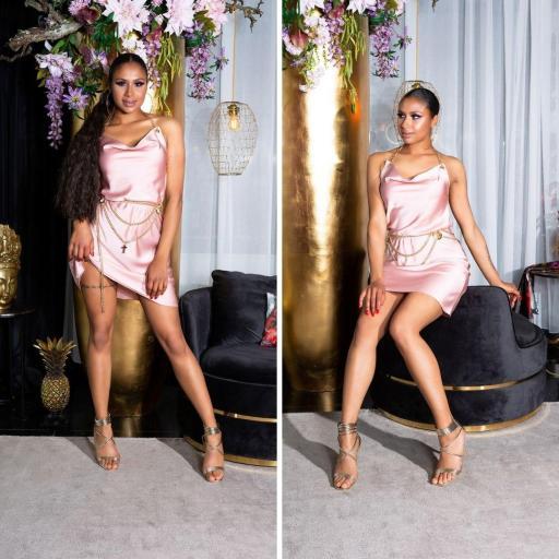 Vestido seda de imitación rosa [3]