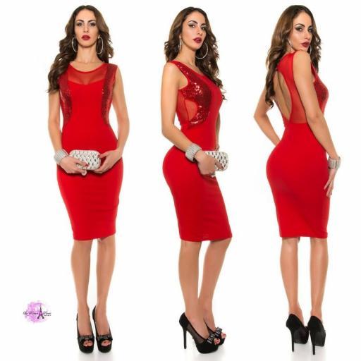 Vestido cóctel escote ilusión rojo [1]