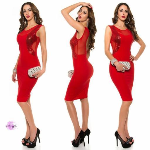 Vestido cóctel escote ilusión rojo [2]
