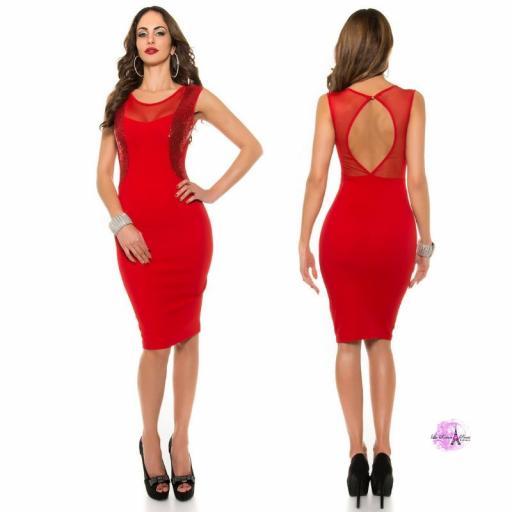 Vestido cóctel escote ilusión rojo [3]
