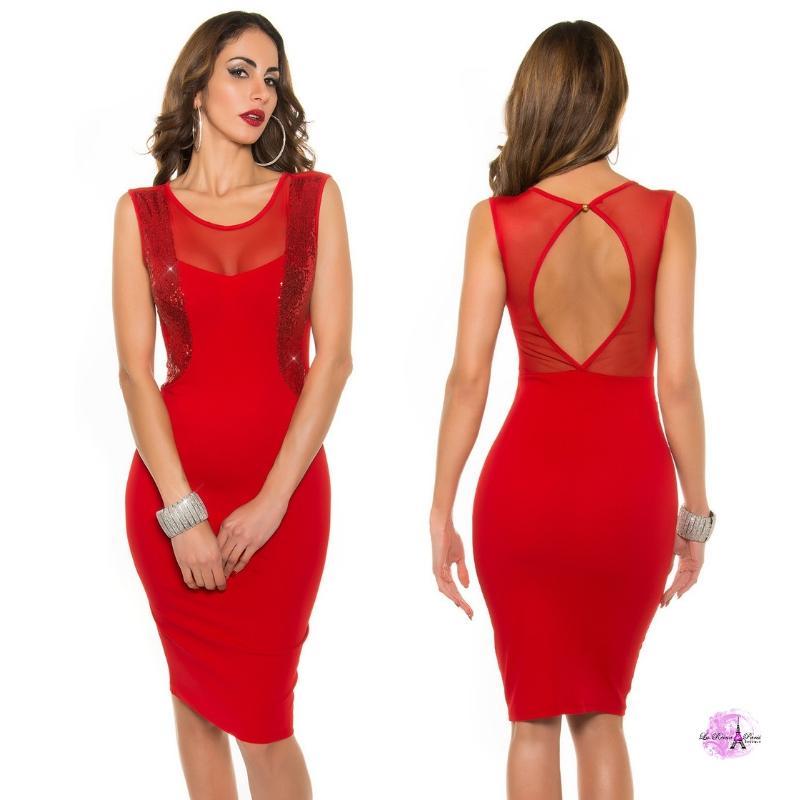 Vestido cóctel escote ilusión rojo