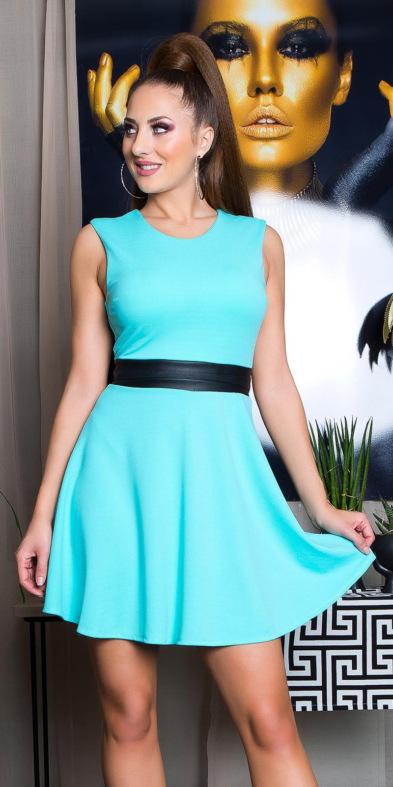 Vestido menta elegante cintura de cuero