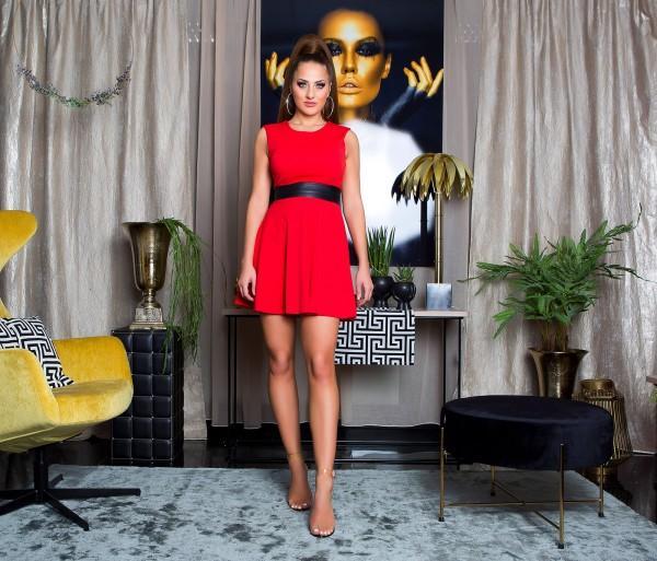 Vestido rojo elegante cintura de cuero