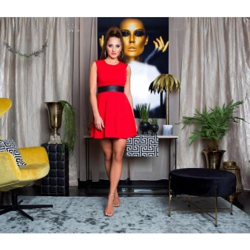 Vestido rojo elegante cintura de cuero  [1]