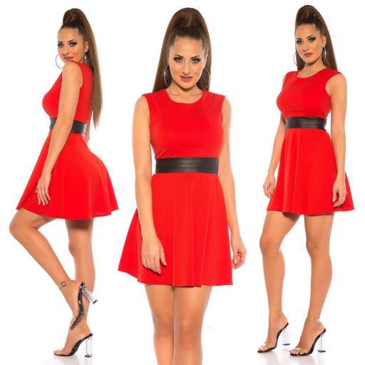 Vestido rojo elegante cintura de cuero  [3]