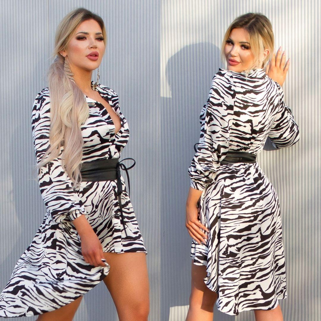 Vestido efecto seda zebra print