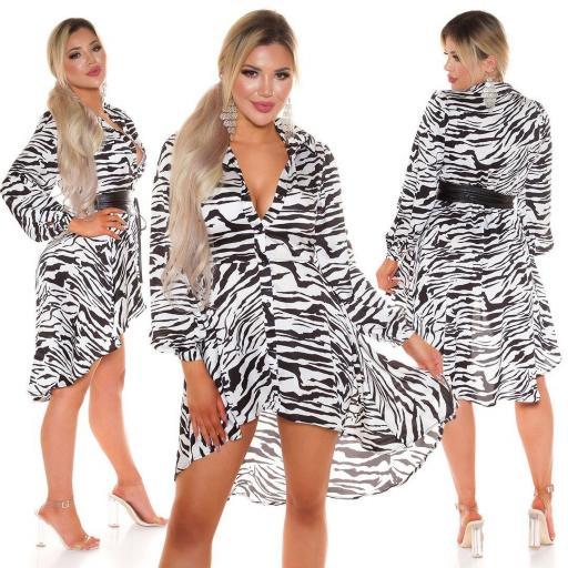 Vestido efecto seda zebra print  [3]