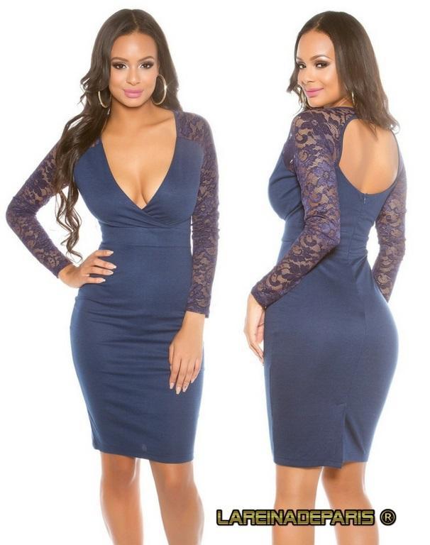 Vestido de moda mangas de encaje azul