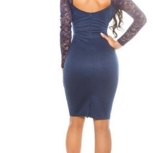 Vestido de moda mangas de encaje azul [3]