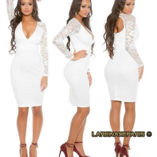 Vestido blanco con mangas de encaje  [2]