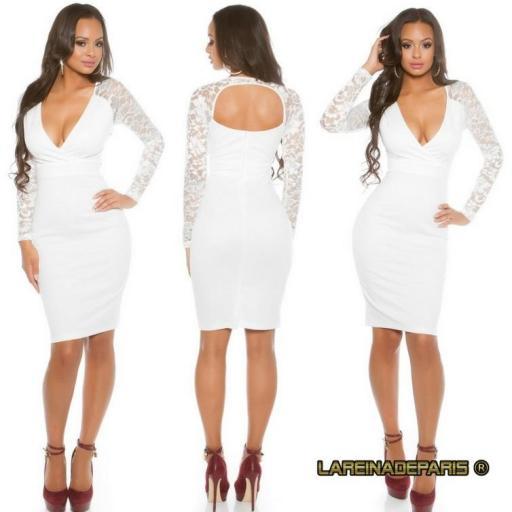 Vestido blanco con mangas de encaje  [3]