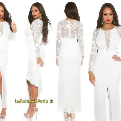 Vestido de fiesta largo encaje blanco