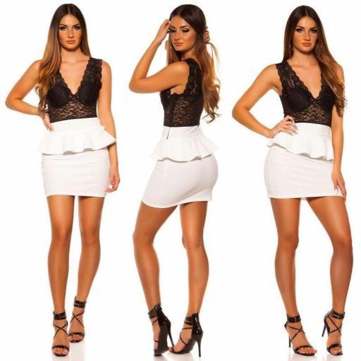 Vestido corto peplum blanco con encaje [2]