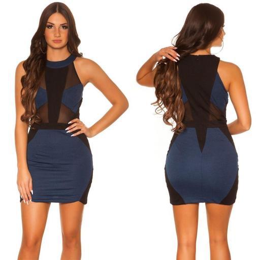 Vestido azul con aplicaciones de red