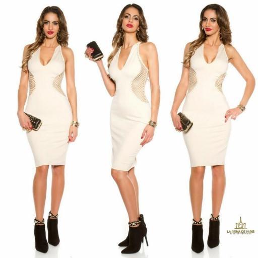 Vestido beige red aplicaciones [3]