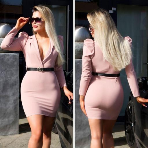 Vestido escotado rosa