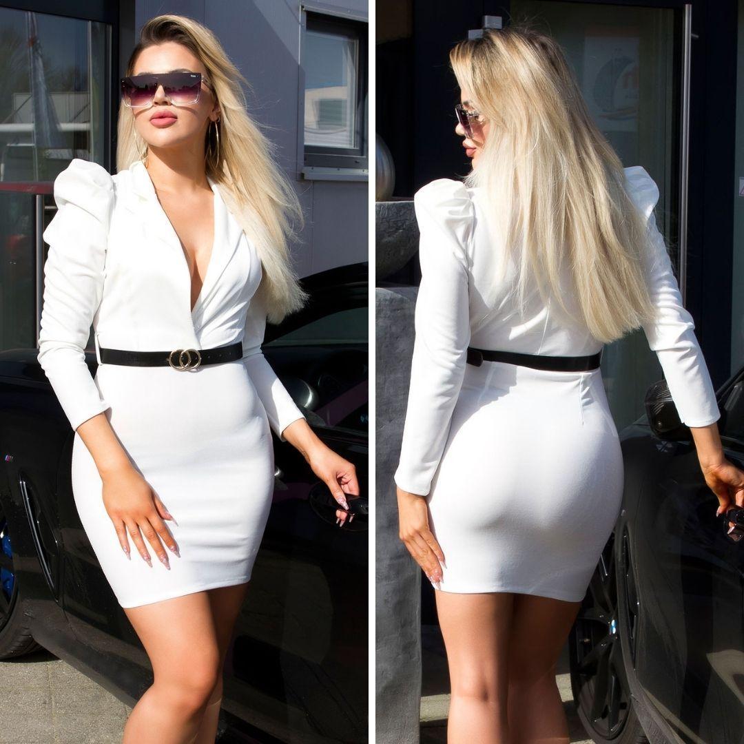 Vestido escotado blanco