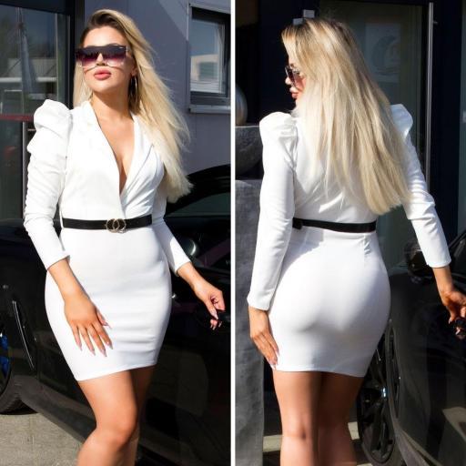 Vestido escotado blanco [0]