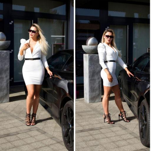 Vestido escotado blanco [1]