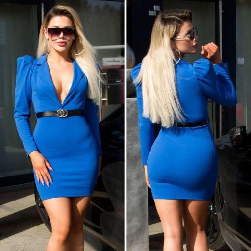 Vestido escotado azul