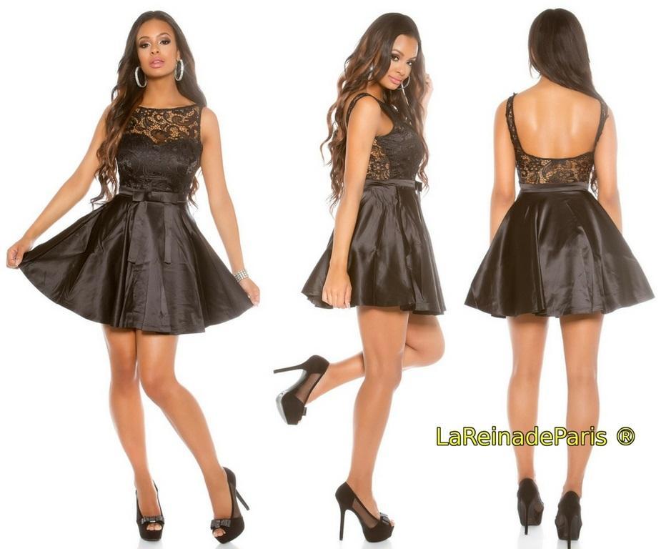 Vestido de cóctel negro con encaje