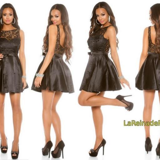 Vestido de cóctel negro con encaje  [3]