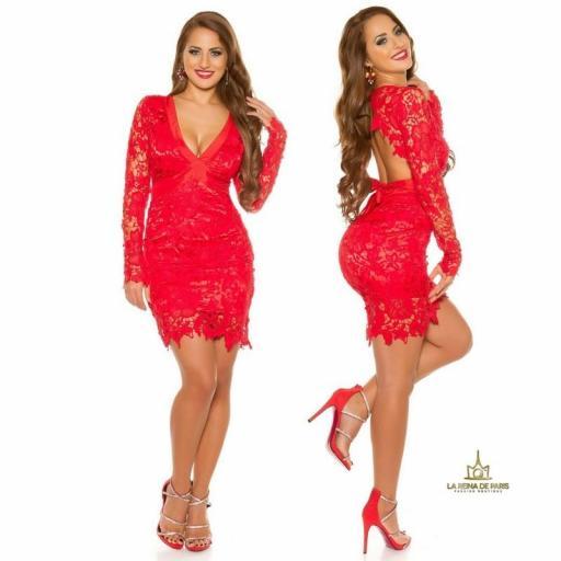Vestido outfits de fiesta rojo encaje [2]
