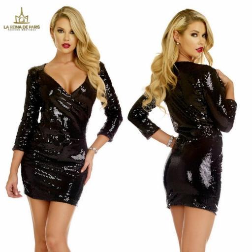 Vestido de fiesta negro de lentejuelas