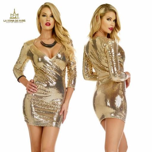 Vestido de fiesta  lentejuelas oro