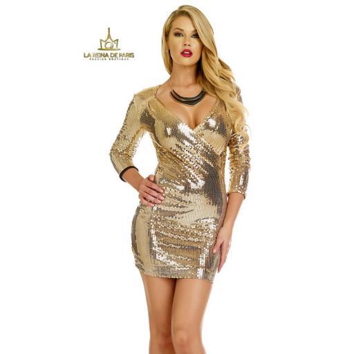 Vestido de fiesta  lentejuelas oro [1]
