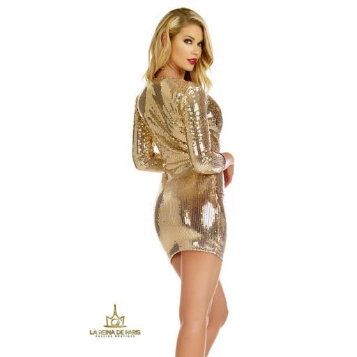 Vestido de fiesta  lentejuelas oro [2]