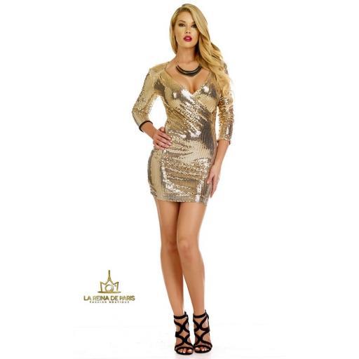 Vestido de fiesta  lentejuelas oro [3]
