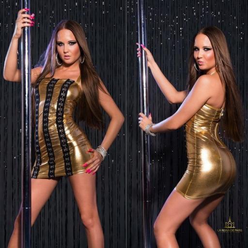 Vestido oro con ganchos metálicos [3]