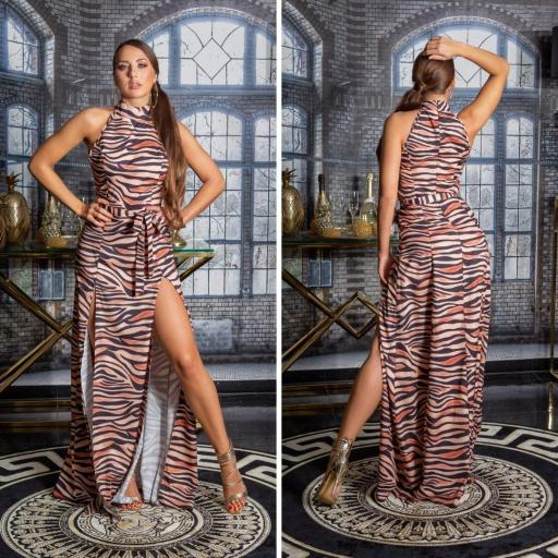 Vestido largo zebra print