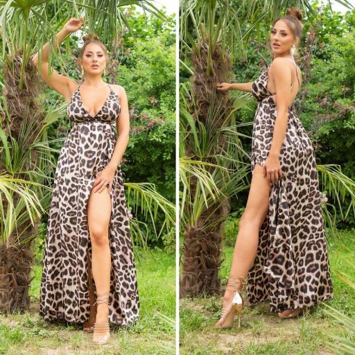 Vestido largo efecto seda leopardo