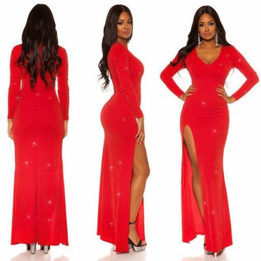 Vestido rojo brillante con abertura