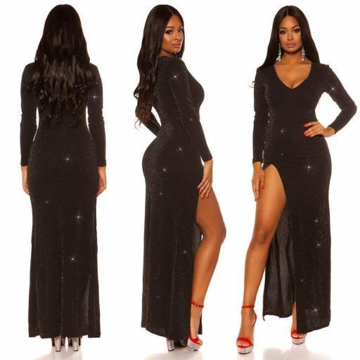 Vestido negro brillante con abertura