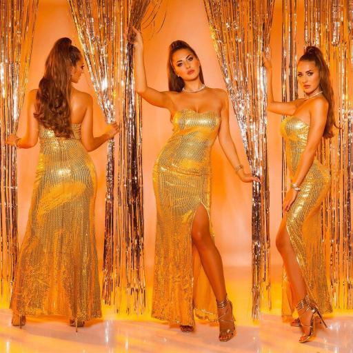 Vestido largo lentejuelas oro