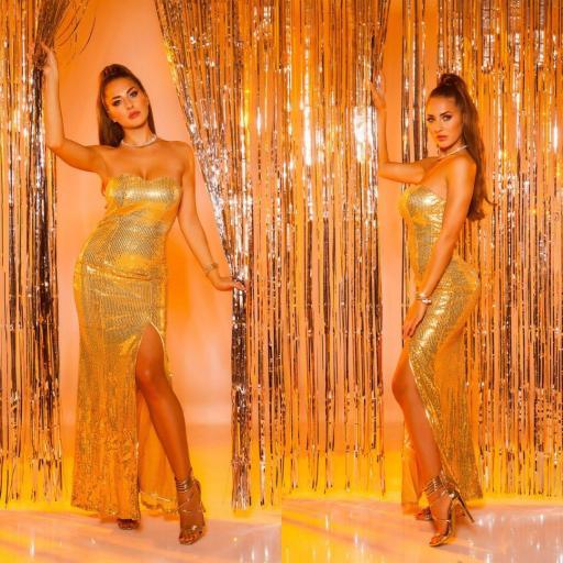 Vestido largo lentejuelas oro [2]