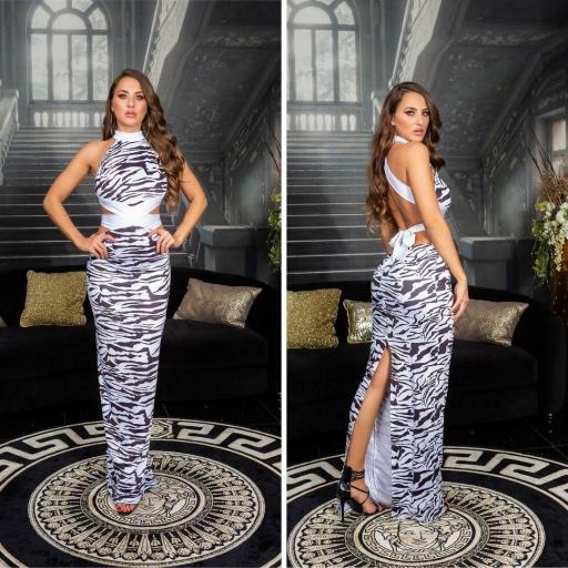 Vestido largo glamour cebra print