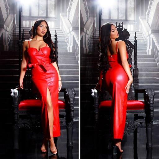 Vestido largo de cuero rojo