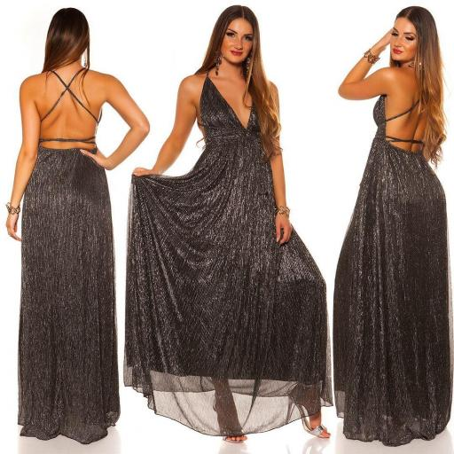 Vestido negro plata de fiesta