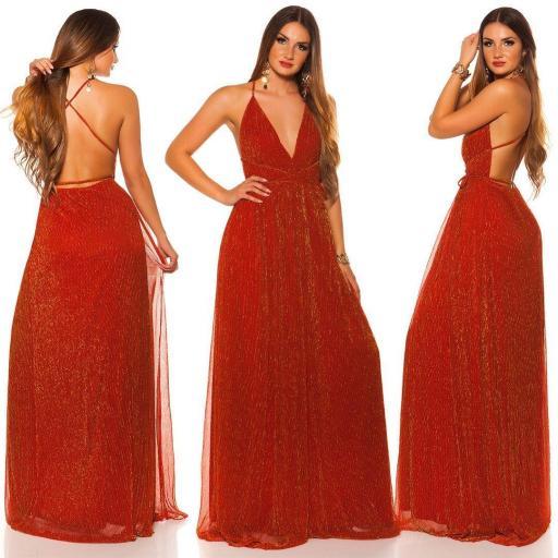 Vestido rojo oro de fiesta con brillo