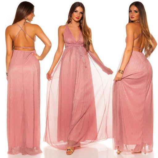 Vestido rosa de fiesta con brillo