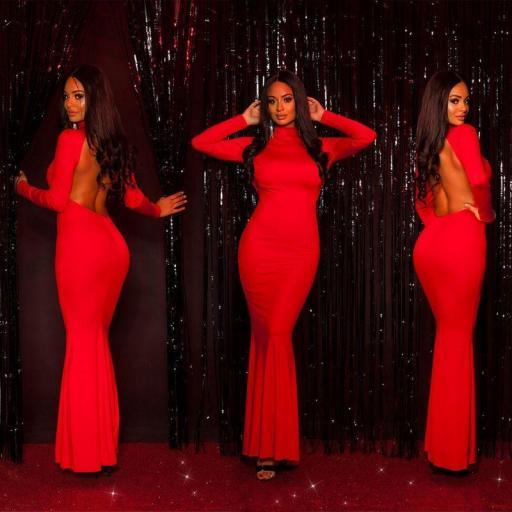 Vestido largo ceñido rojo