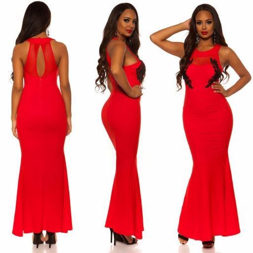 Vestido largo rojo bordado  [1]
