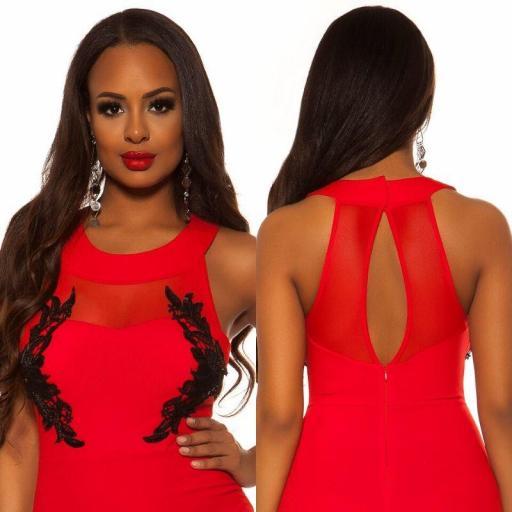 Vestido largo rojo bordado  [3]